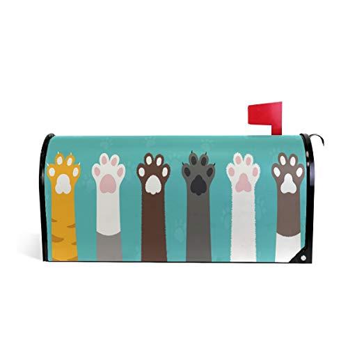 funnyy Witzige süße Katzen- und Pfotenabdruck-Abdeckung für Briefkasten, magnetisch, Standardgröße 5,8 x 45,7 cm