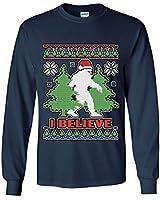 Bigfoot Ugly Sweatshirt Long Sleeve T-Shirt Funny Christmas Yeti I Believe Tee Navy Blue L