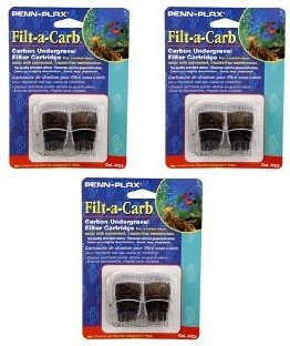 Penn Plax Filt-A-Carb for Multi-Pore and Undergravel'E' Filters- 6 Total (3 Packs with 2 per pack)