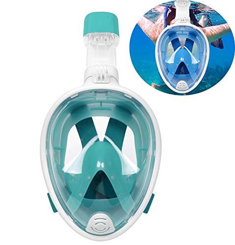 PXDM Breathe Easy Tauchmaske für Erwachsene Schnorchel Schnorchel Gesichtsmaske mit Abnehmbarer Kamerahalterung,Grün,L/XL
