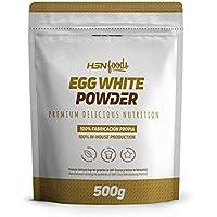 Clara de Huevo en Polvo de HSN | 100% Proteína Natural | Apto Vegetariano | Sin Grasas, Sin Colesterol, Sin Gluten, Sin Lactosa, Sabor Natural, 500 gr