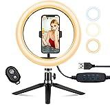 Aro de Luz Trípode Fotografía, 10.2' Anillo de Luz Selfie con Control Remoto 120 LED 3 Modos 11 Niveles de Luz para TikTok Youtube Instagram Vlog Vídeo Maquillaje Enseñanza para iOS Android