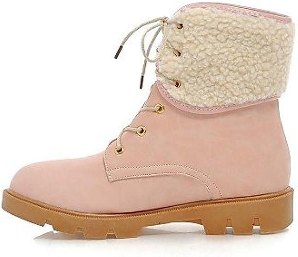 XZZ  Chaussures Femme - Décontracté - Noir   Rose   Beige - Talon Plat - Bottes de Neige   Bout Arrondi - Bottes - Similicuir