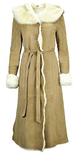 DX-Exclusive wear Damen Toscana LAmmfellmantel, Wildleder, Schaffellmantel, Ledermantel aus Toscana lang beige Fell KPKD-0021 (34)