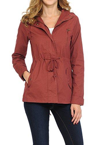 Auliné Collection Women's Versatile Military Safari Utility Anorak Street Fashion Hoodie Jacket Marsala Small