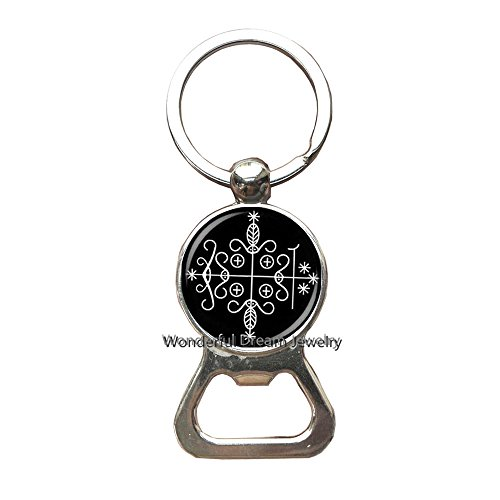 Fashion papa legba Voodoo Key Ring Ritual Altar Key Ring Occult Medallion Key Ring Bottle openers Keychain Jewelry,PU195