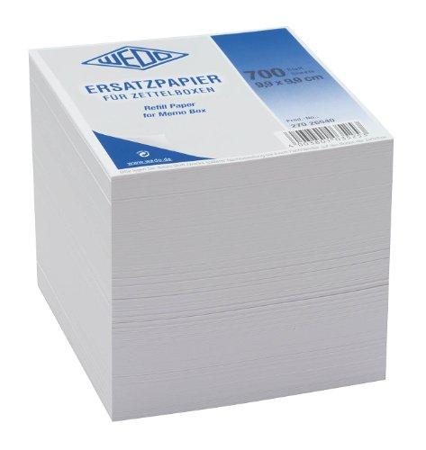 Wedo 27026540 Ersatzpapier (für Zettelbox holzfrei, 9,9 x 9,9 cm) 700 Blatt) weiß