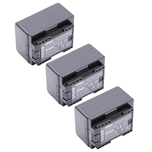 vhbw 3x Li-Ion batteria 1600mAh (3.6V) con infochip per telecamera videocamera camcorder Canon Legria HF R66, HF R68, HF R606 sostituisce BP-718.