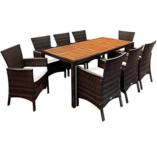 Deuba Poly Rattan Sitzgruppe 8 Breite Stühle 7cm Auflagen Gartentisch 190x90cm Akazien Holz Garten Gartenmöbel Set Braun