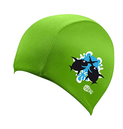 BECO 7703 Fabric Swimming Cap Swimming Cap with Motif for Children Girls Boys 100 Polyester Sea Life Green