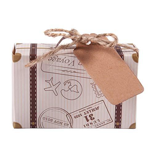 Semoic 50 Piezas Mini Maleta Caja De Favores Favor De Fiesta Caja De Caramelo,Papel Kraft Vintage?con Etiquetas Y Cuerda para La Boda/Viaje Temático Fiesta/Nupcial Ducha Decoración