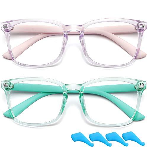 Brille für Kinder, blaues Licht, klare Gläser für Jungen und Mädchen, Computerbrille, Anti-Augenanstrengung, nicht verschreibungspflichtig, falsche Brillenfassung (grün + lila)