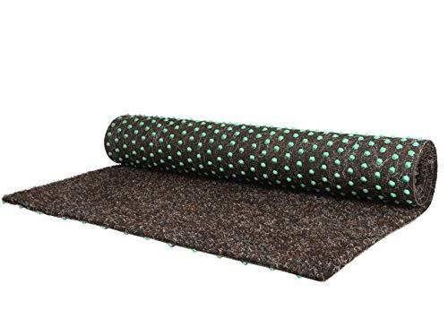 Balkonrasen Rasenteppich im Festmaß Vliesrasen mit Noppen - Braun 200 x 100 cm, Höhe 7mm, Wasserdurchlässiger Vlies-Kunstrasen, Pool-Unterlage Matte