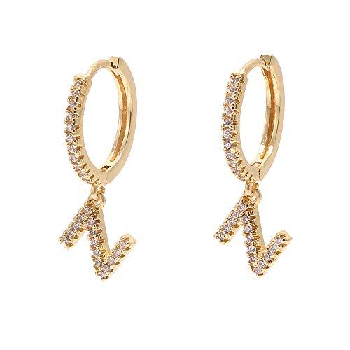 18 Karat Vergoldete Buchstaben Ohrstecker Alphabet A - Z Strass Ohrringe Zirkonia Modeschmuck für Mädchen Frauen