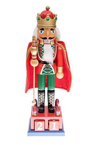 Clever Creations Tradizionale King Nutcracker by Festive Holiday Décor - Calendario dell' avvento Supporto - Rosso e Verde - 100% Legno - Altezza 38,1 cm