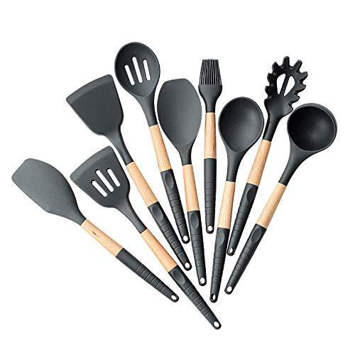 HZWLF Herramienta para hornear, 1 pieza de silicona+espátulas de madera para sopa de sopa y espátula de cocina, utensilios de cocina