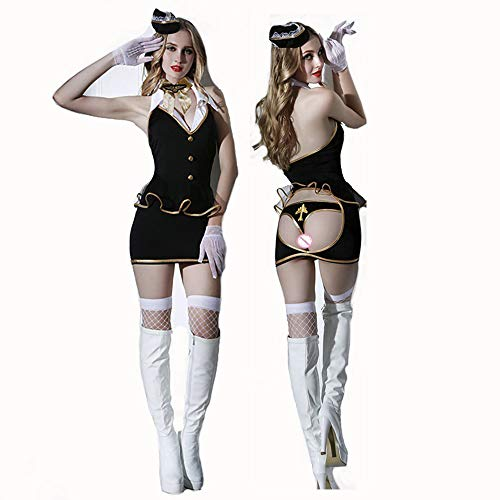 HJG Sexy Flugbegleiter-Kostüm für Frauen, Stewardess Uniform Cosplay Halloween-Party