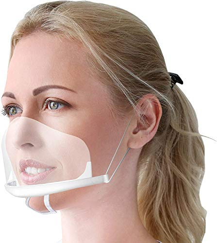 5 Stück Gesichtsschutzschirm aus Kunststoff – Plexiglas Schutzmaske vor Staub, Speichel etc. für das Gesicht – effektiv & hygienisch