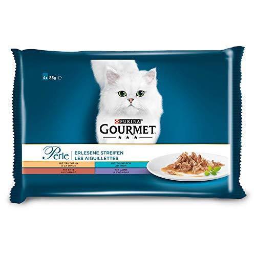 PURINA GOURMET Perle Erlesene Streifen Katzenfutter nass, Sorten-Mix, 12er Pack (12 x 4 Beutel à 85g)