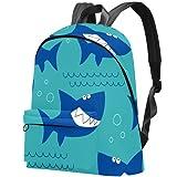 LAZEN Mochila ligera Mochila escolar universitaria Mochila para portátil para adultos y adolescentes Mochila informal Ocean Sea Shark Patern