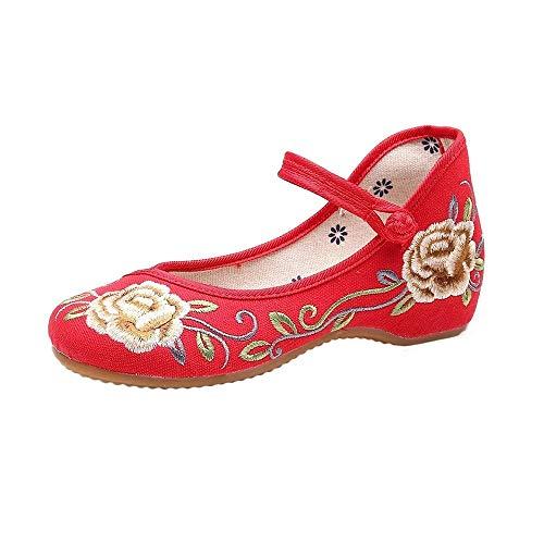 Gestickte Schuhe, Einzigartige Wanderschuhe Im Chinesischen Stil, Top Casual Anti-Slip Und Exquisite Handstickerei, Hanfu-Schuhe,Rot,EU41