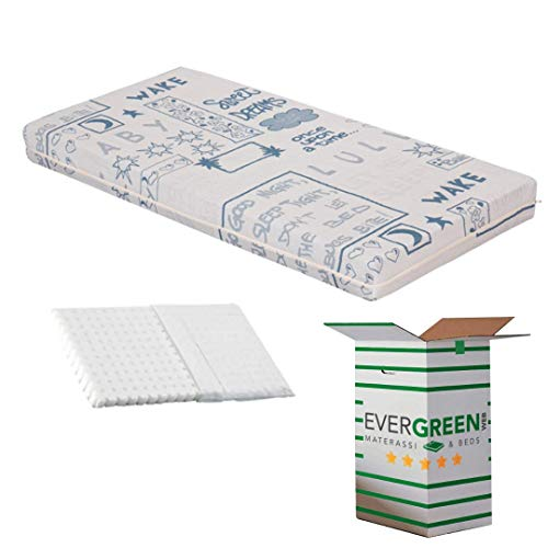 EvergreenWeb - Colchón para Niños 70x160 y 12 cm de Altura + Almohada Anti-Asfixia a Medida Gratis, para Cunas, Recubrimiento Azul Removible de Algodón 100% Natural, Lavable y Hipoalergénico, Bebé