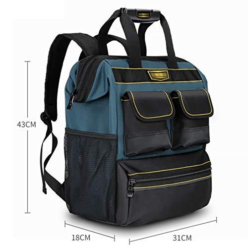 Qiming Portable Tool Bag Mochila portátil Bolsa Multifuncional Herramienta portátil Bolsa de Almacenamiento Bolsa de Herramientas Multiuso Hardware Kit (Color : Blue, Size : 31 * 18 * 43cm)
