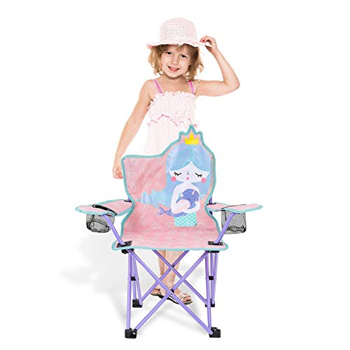 olyee Kids Folding Lawn and Camping Chair, Mermaid Portable Seat Stick Chair with Mesh Cup Holder, Foldable Garden Chair Beach Chair for Children