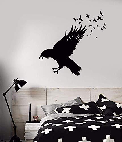 Vinyl muursticker zwart raven zwerm van vogels muur sticker huisdecoratie vogels dier Vinyl muur Sticker Decor 42x40cm