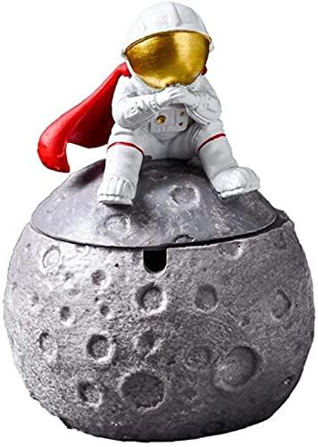 FJXJLKQS Cenicero de Astronauta Resina Luna Planeta con Tapa Cenicero de Dibujos Animados de Estilo Serie Space Dream para Decoración del Hogar