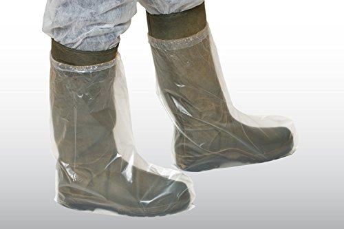 100 Stück Überstiefel aus PE-Folie, feste Qualität, transparent, mit Gummizug (Überschuhe - Stiefelüberzieher)