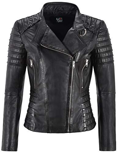 Smart Range Leather Co Ltd. Giacca da Donna in Pelle Nera Classico Stile da Motociclista 100% Vera Pelle Napa 9393 (14 for Bust 88 CM)