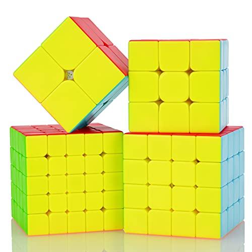 Maomaoyu Cubo Magico Pack, Speed Cube 3x3+2x2+4x4, Cubo de la Velocidad Sin Pegatinas Caja de Regalo de 4 Piezas Set (Stickerless)