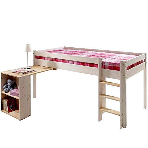 silenta Hochbett Kinderbett Ebrach 90x200cm mit Rost und ausziehbarer Schreiplatte mit Regal, Kiefer Massivholz aus nachhaltiger Forstwirtschaft
