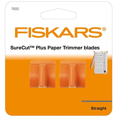 Original Fiskars Cuchillas de repuesto para máquinas de corte de papel SureCut Plus, 2 unidades, para corte recto, SureCut Plus, Naranja, 1020506