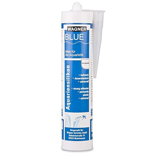 Wagner Blue - Cartuccia di silicone per acquario, 310 ml, professionale, in silicone, per acquari e costruzioni in vetro, resistente all'acqua dolce e marina, elevata elasticità