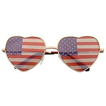 grinderPUNCH Women s Heart Shaped American Flag Cute Sunglasses US Shades