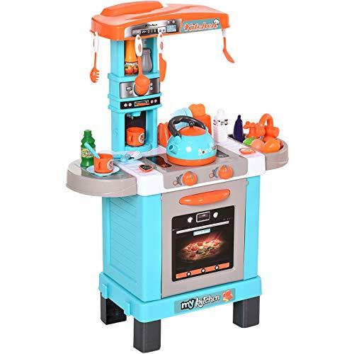 HOMCOM Set de Juguetes de Cocina para Ninos Mayores de 3 Anos Juegos de rol Luces y Sonidos Educativo con 33 Accesorios Incluidos 64x29x87 cm Azul