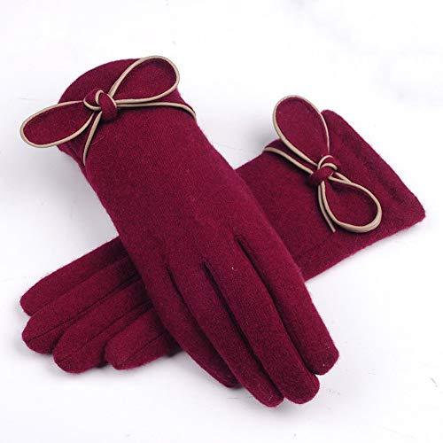 Uoyov Nueva terciopelo acolchado con pantalla táctil de Guantes de las señoras for el otoño y de invierno for mantener terciopelo conejo del nudo del arco de puntos calientes for los guantes de algodó