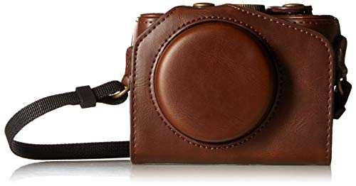 CEARI Vintage Leather Camera Case Bag with Strap for Canon Powershot G7X, G7X Mark II DSLR Camera - Coffee
