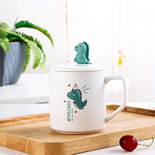 Taza De Café De Cerámica Mate De Dinosaurio De Dibujos Animados Lindo Con Cuchara De Tapa Oficina En Casa Escuela Leche Té Tazas De Agua Hipster Drinkware Cups-3_400Ml