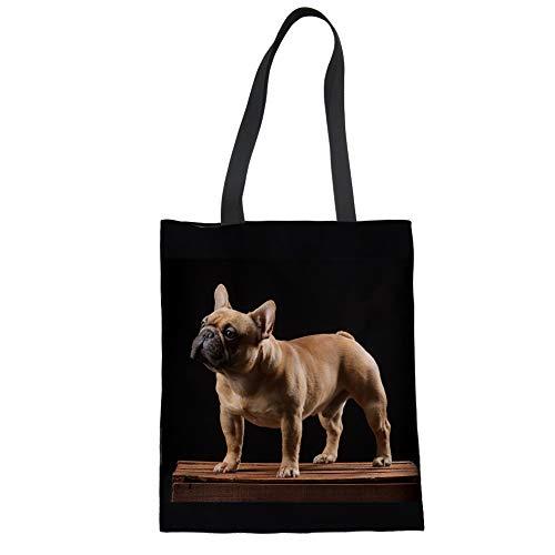 Showudesigns Damen Canvas Tote Bag with Insert Organizer Animal Designer Schwarz, Schwarz - French Bulldog Funny - Größe: Medium