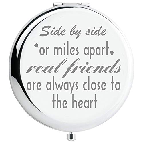 Fnbgl Friend Gifts from Friends Side by Side or Miles Apart Friendship Inspirational Compact Mirror Sister Birthday Gift, Funny Ideas for Big Little Sister, Soul Sister, Best Friend