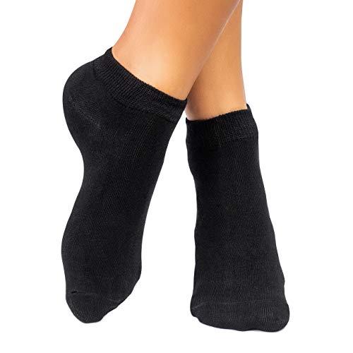 lampox Sneaker Bambussocken - 6 Paar - Atmungsaktiv - Komfortbund - Geruchshemmend - Klimaregulierend - Saugfähig - Reduziert Fußschweiß - Superweich (39-42, Schwarz)