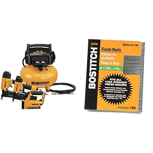 BOSTITCH Air Compressor Combo Kit, 3-Tool (BTFP3KIT) & Finish Nails, Bright, 2-1/2-Inch, 16GA, 1000-Pack (SB16-2.5-1M)