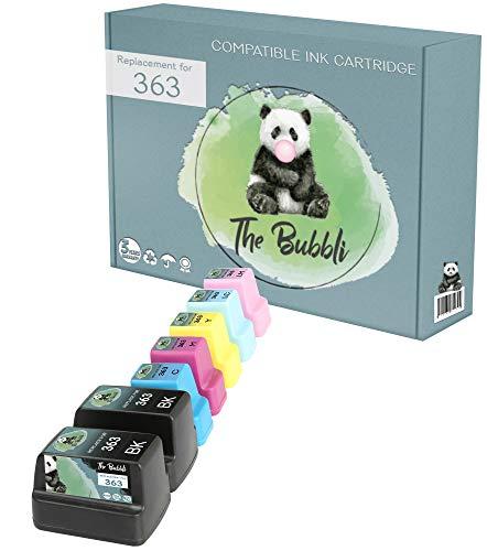 The Bubbli Original | 363 XL Cartucho de Tinta Compatible para HP Photosmart C6180 C8180 D7360 D7460 C6280 C7250 8250 C5180 D7160 C7180 3310 D7260 3210 C6250 8230 3110 D6160 (7-Pack)