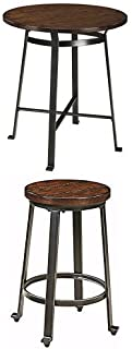 Ashley Furniture Signature Design - Challiman Dining Room Bar Set - Table and Four Bar Stools- Counter Height - Round - Rustic Brown