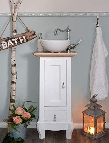 Waschtisch Gäste Bad Landhaus Waschbecken mit Unterschrank Vintage Landhausstil Badmöbel Nostalgie Aufsatzwaschbecken