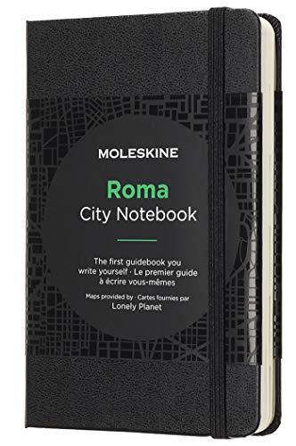 Moleskine City Notebook Rome (mit weißen und linierten Seiten, Notizbuch mit Hardcover, elastischem Verschluss und Stadtplänen, Größe 9 x 14 cm, 220 Seiten) schwarz