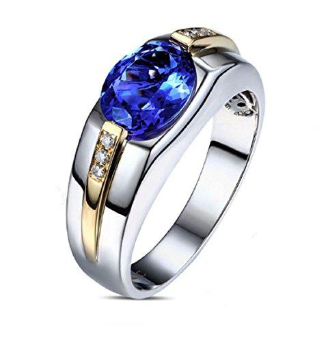 GOWE 1.85ct AAA Flashing Blue Tanzanite Diamond Mens Engagement Wedding Ring 14k Gold